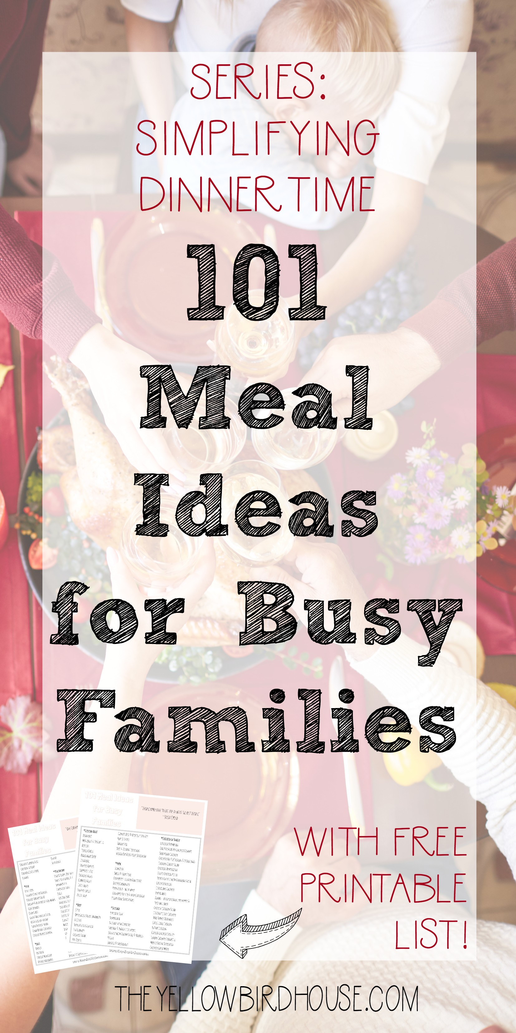 Do you struggle to come up with weeknight dinner ideas? Here is an epic list of 101 meal ideas for busy families, plus 18 bonus side dish ideas!