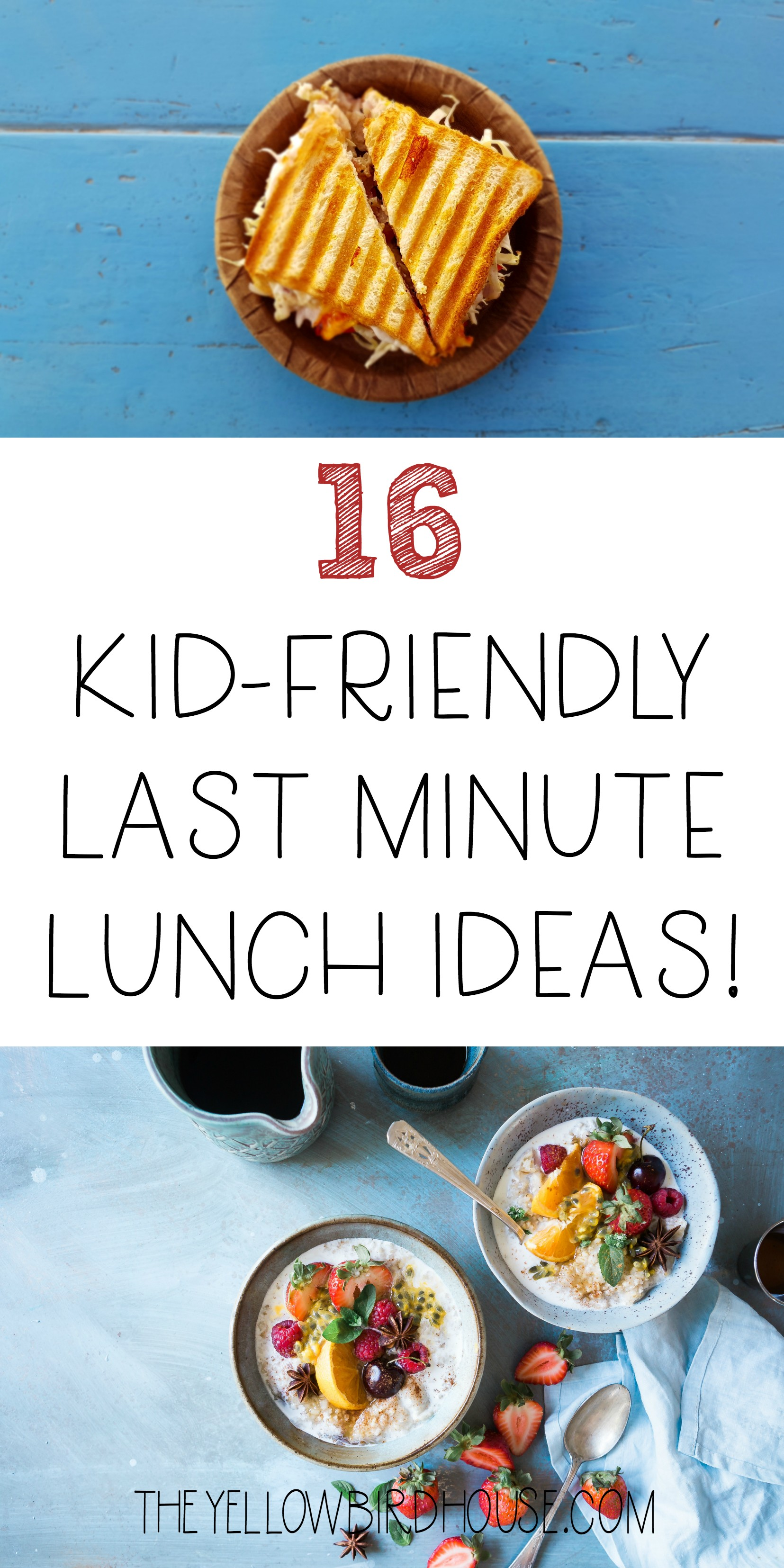 Do you often struggle coming up with lunch ideas that will suit your busy day and your child's tastes? Me too. Here is a list of kid-friendly lunch ideas that are healthful and quick to make. When lunch time hits we are often cranky and need some quick nutrition. These last minute lunch ideas will satisfy and fuel the rest of your day!