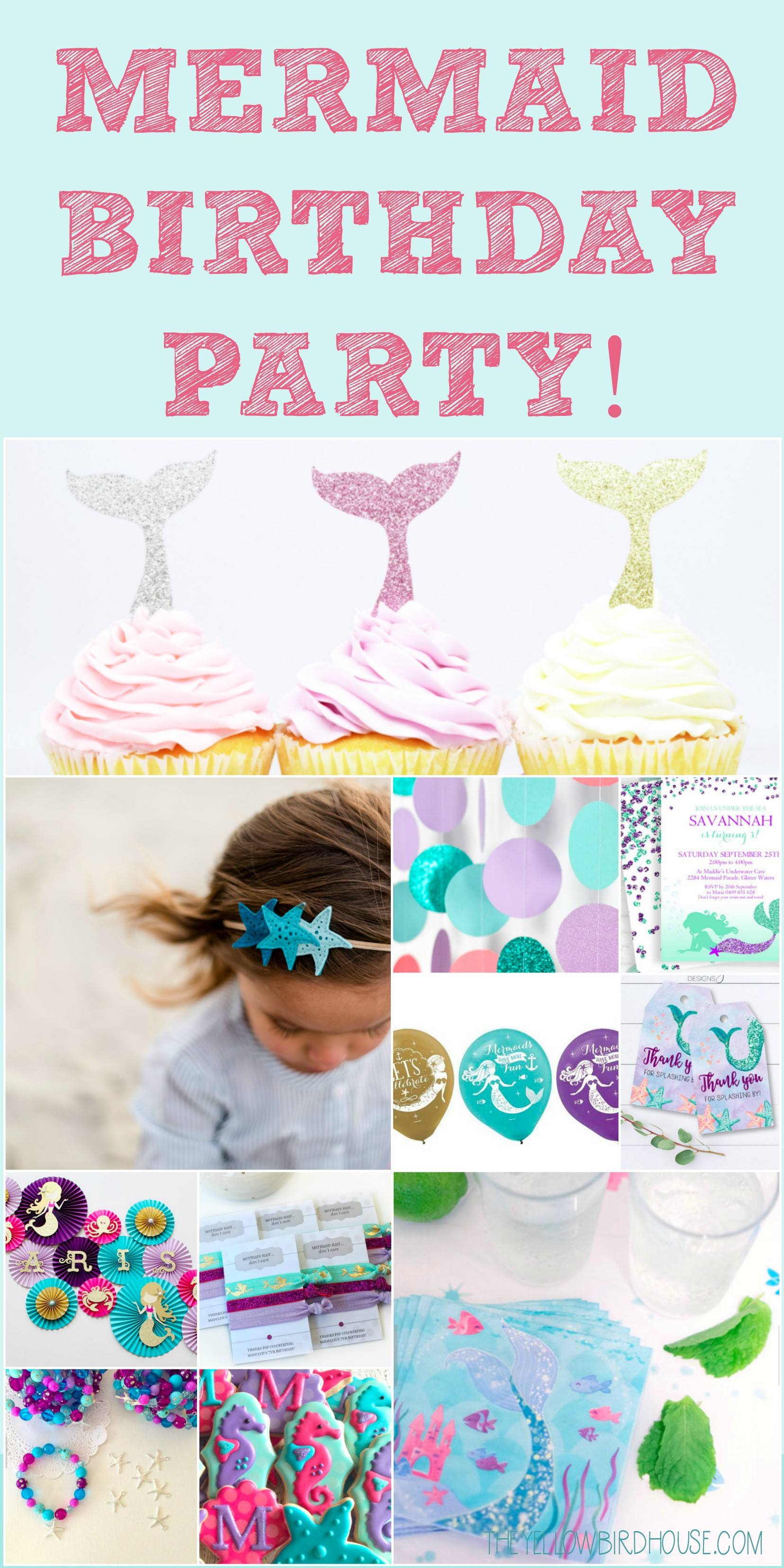Would you like to throw an amazing mermaid birthday party? Here's is a roundup of all the mermaid-themed party favors, decor and treats you will need to create an incredible mermaid party!