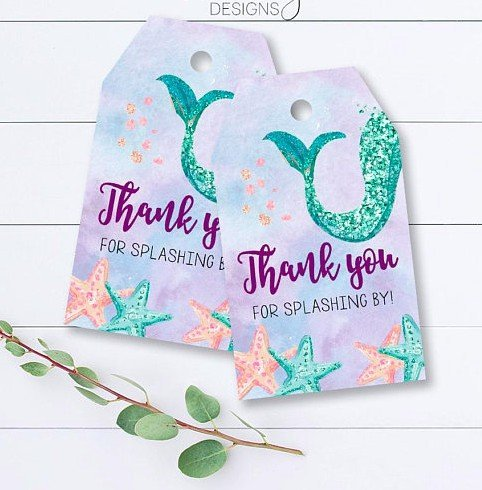 Mermaid Party Thank You Tags