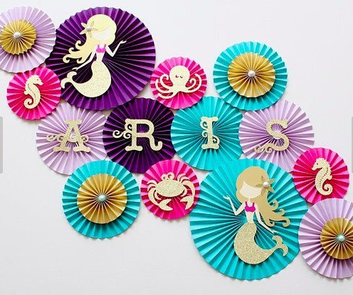 Mermaid Party Paper Fan Decorations