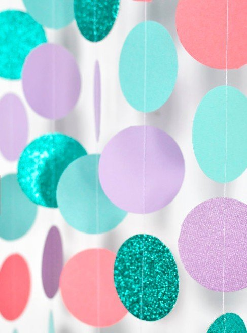 Mermaid Party Garland - Teal and Lavender Sparkle Paper Garland