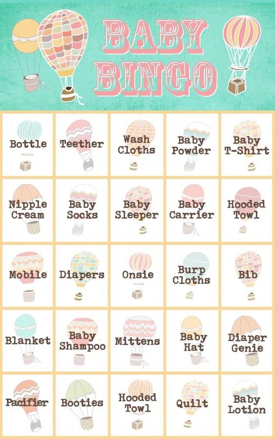 Hot air balloon free baby shower printable. Free printable baby bingo cards.