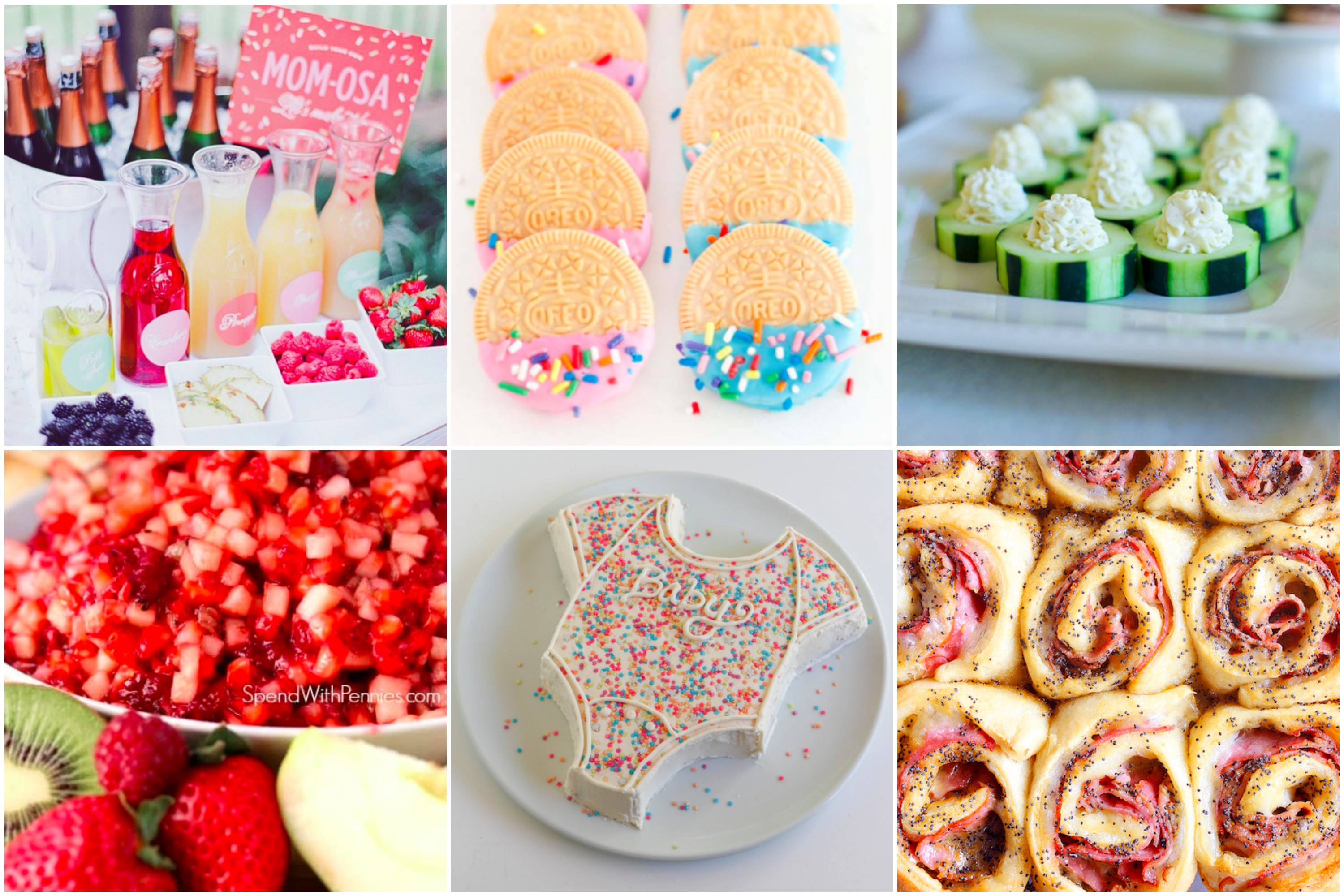 Baby Shower Menu Ideas for a DIY Baby shower party. 6 options to fill up the food table with delicious treats!
