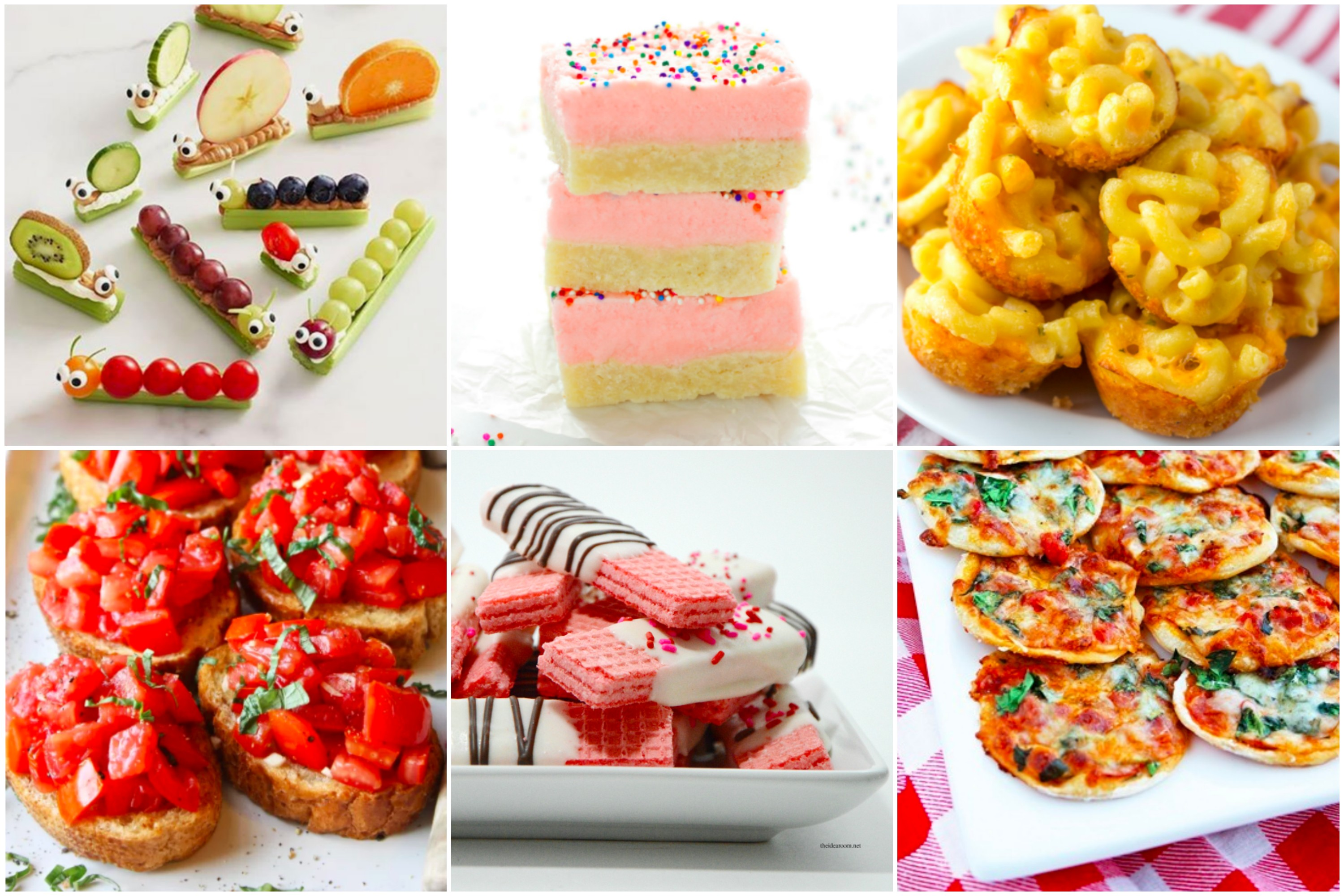 Baby shower food ideas. Mac & cheese bites, mini pizzas, bruschetta and more! Guests are sure to love these yummy treats!