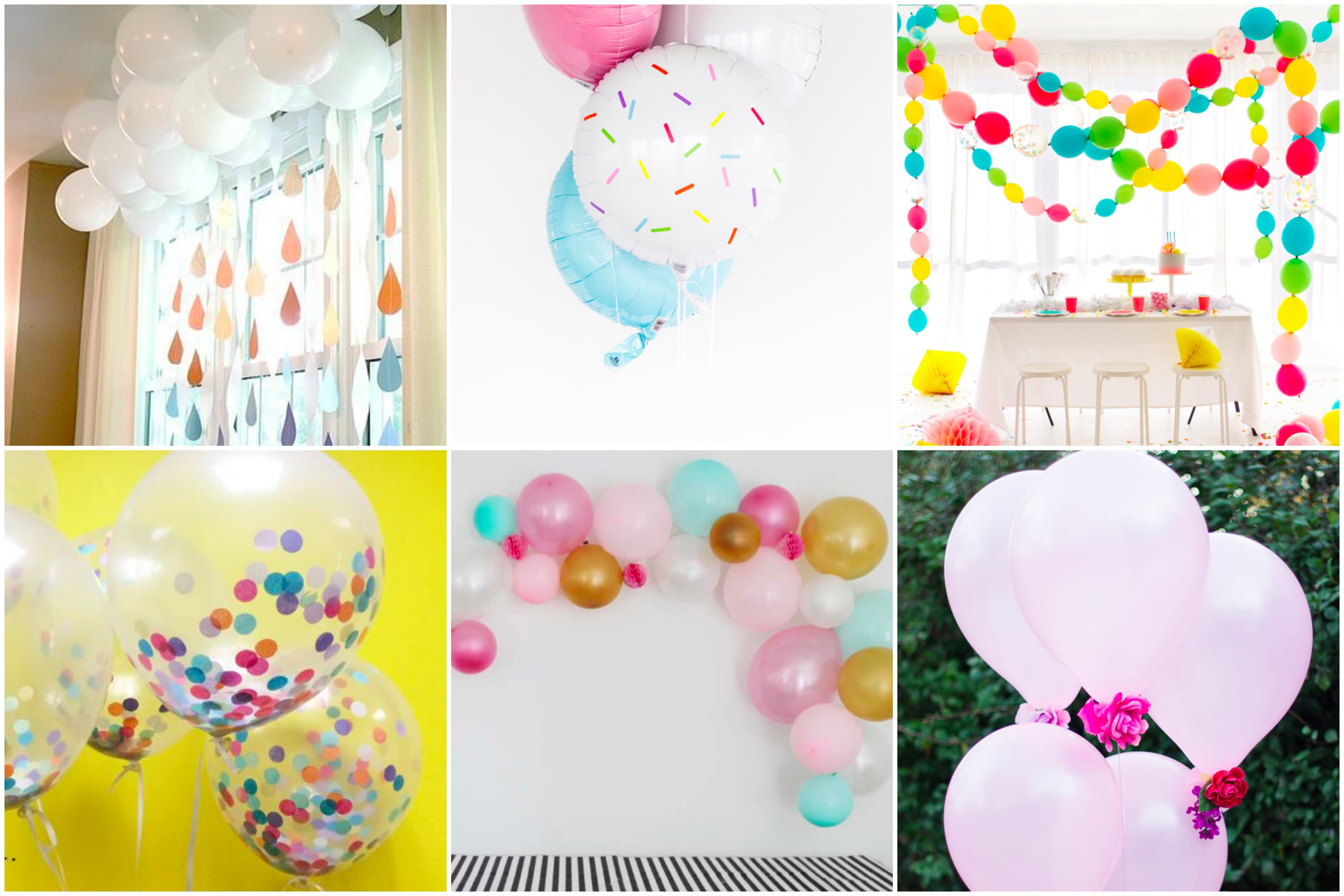 DIY Baby Shower Series. Ideas for creatively arranging balloons as DIY baby shower decorations