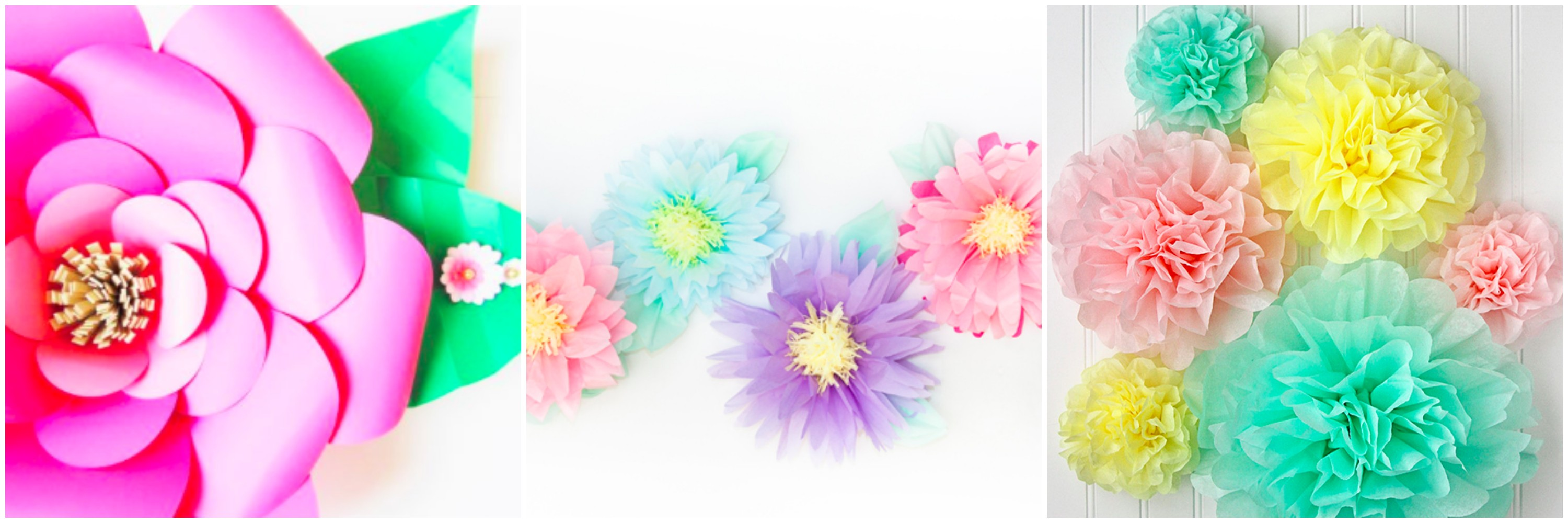 DIY Large flower, pom poms and rosettes for a DIY baby shower