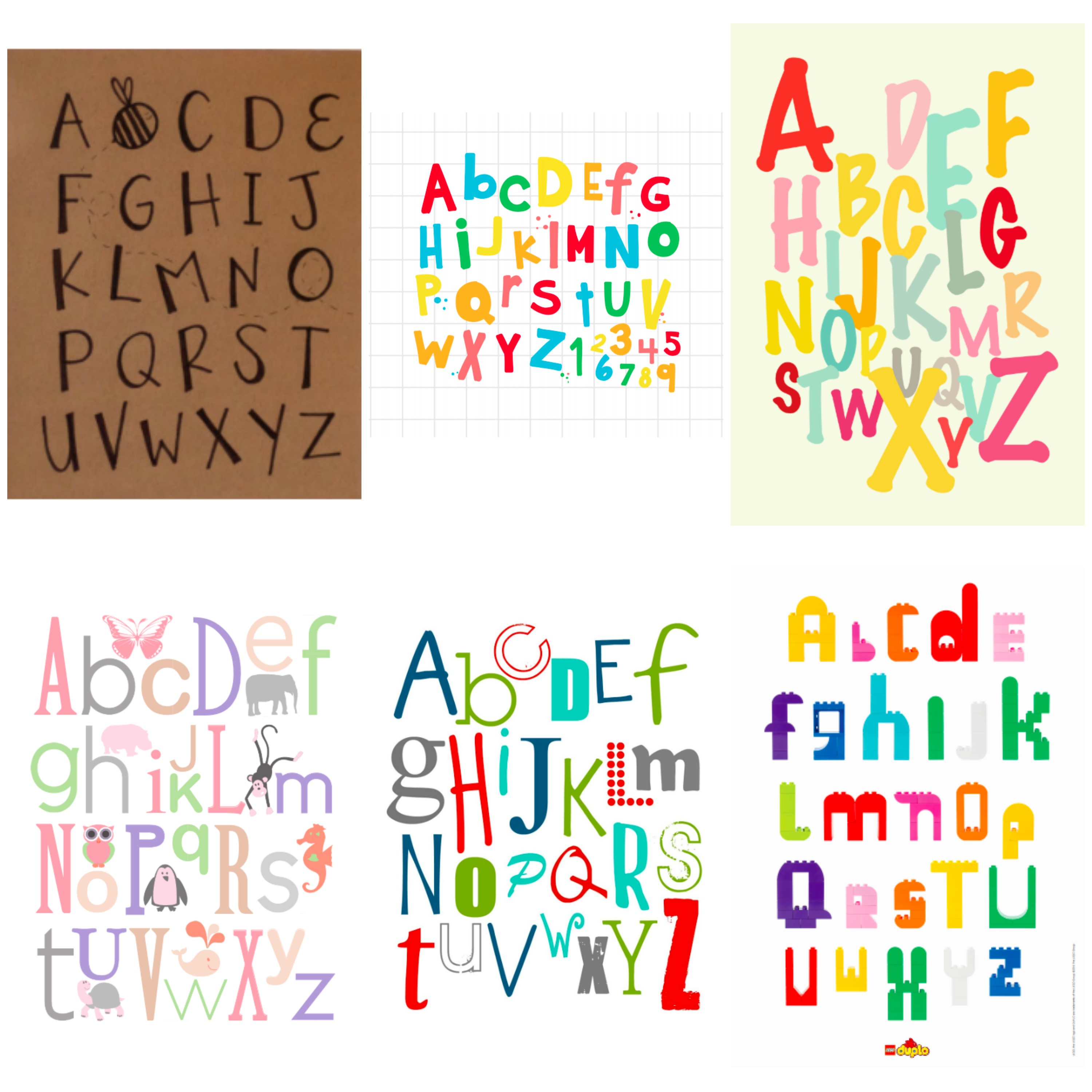 ABC's posters for you kiddo's bedroom. 19 totally free printable alphabet posters.