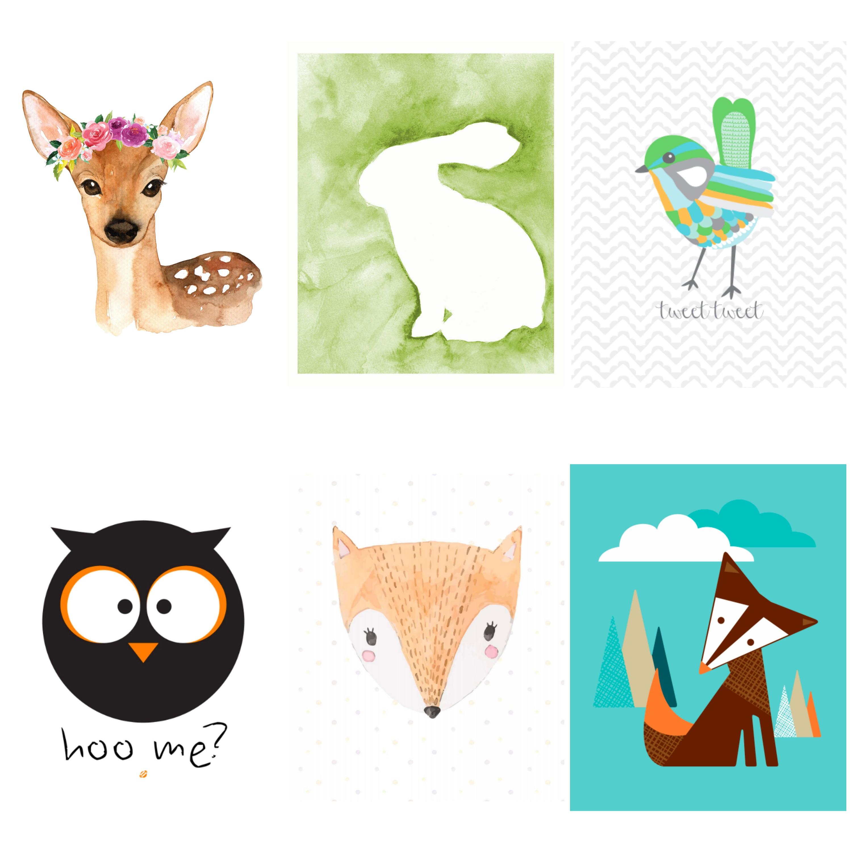 Free woodland printables. Free animal art for kids.