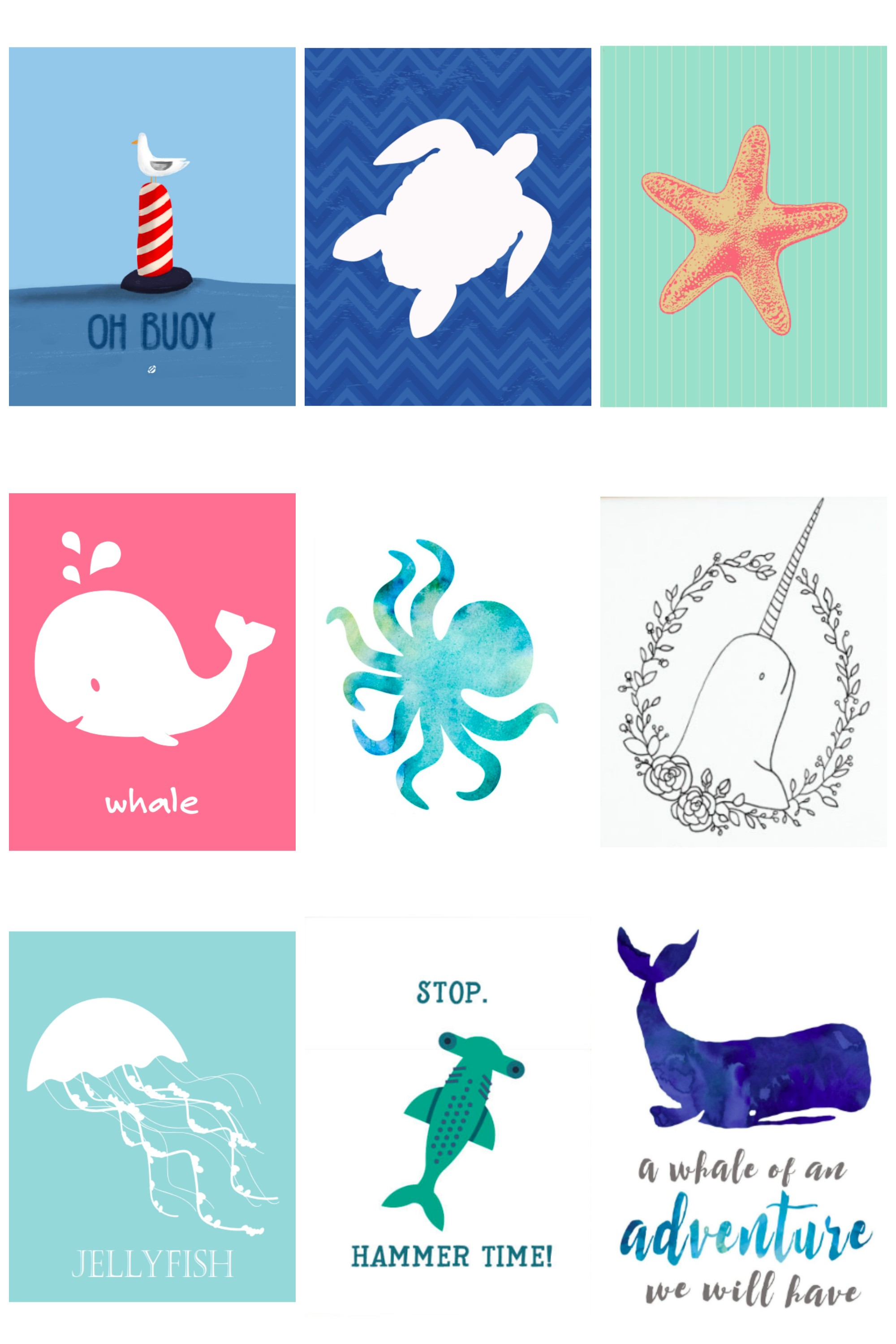 Free ocean printables. Free printable ocean art for kids. Narwhal colouring page. Whale printables.