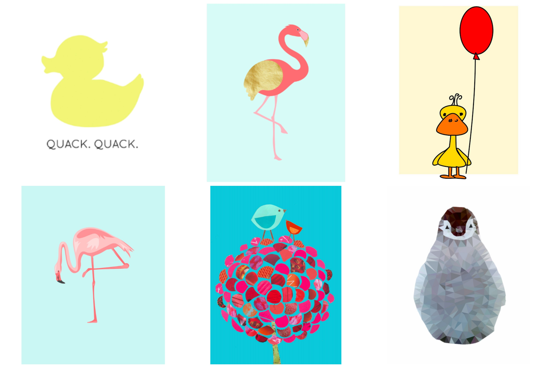 Free printable bird art. Free Nursery printables. Bird art for kids