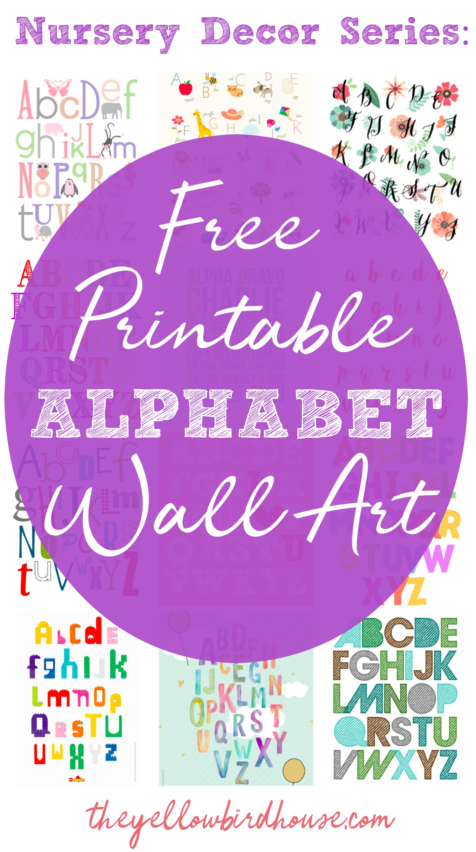 19 Super fun and totally free printable alphabet wall art. Free ABC posters for your kiddo's bedroom. Alphabet nursery prints are a fun and creative way to decorate a child's bedroom and help them with their ABC's at the same time! Win!