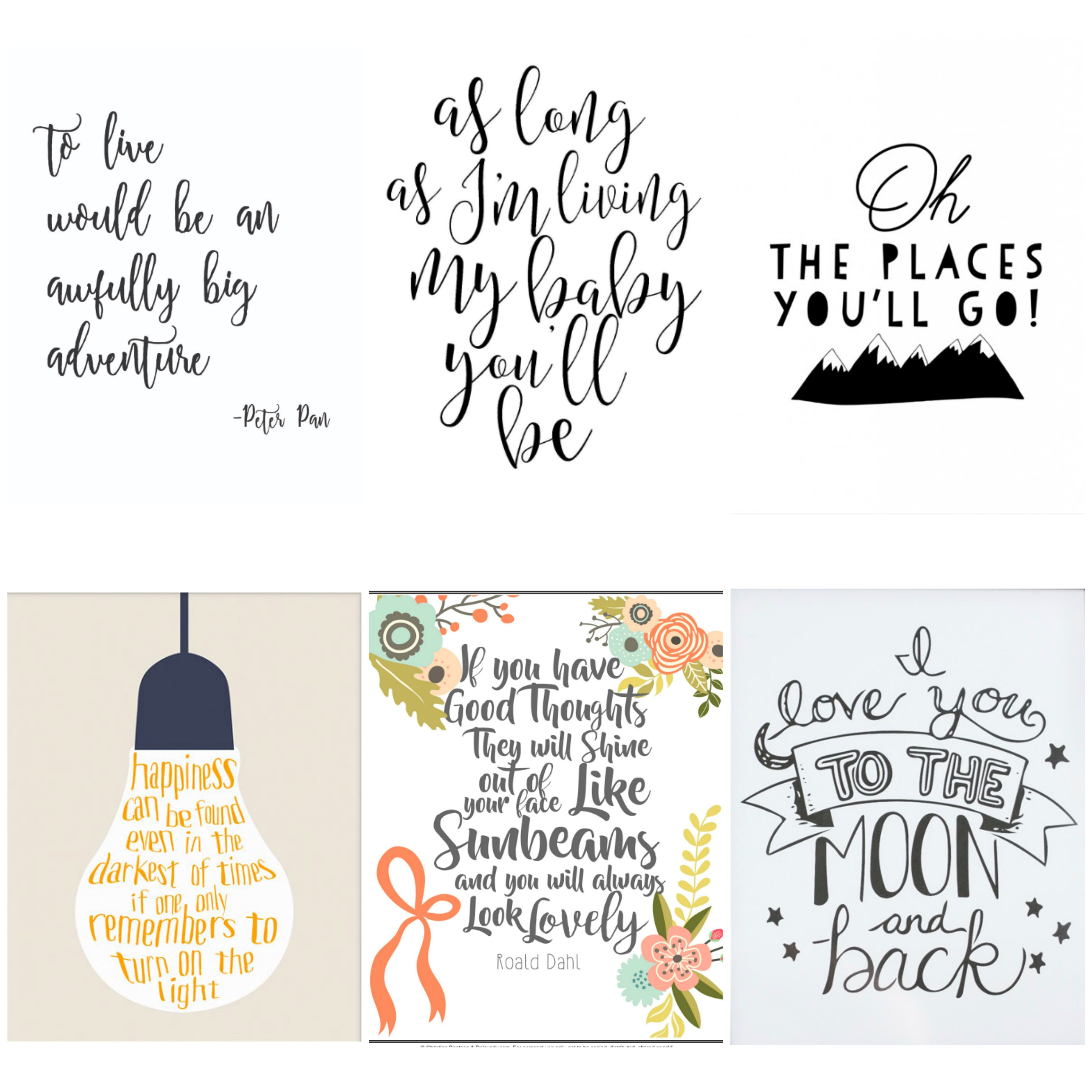 Literature quotes for a child's bedroom. Free printable wall art for kids.