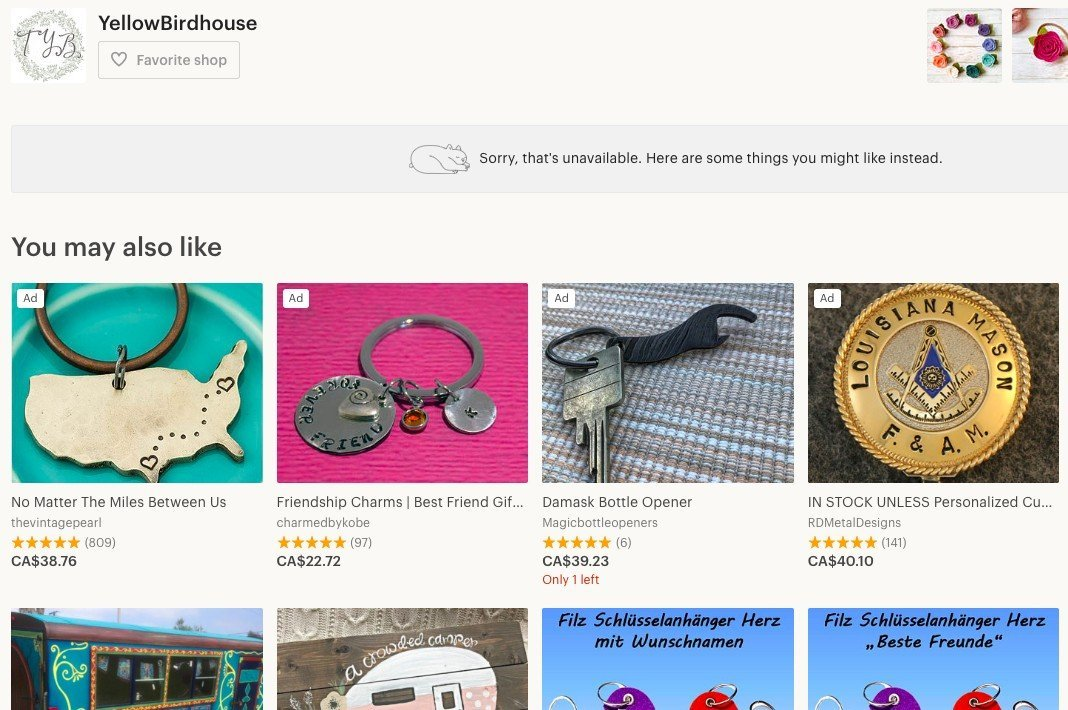 When your product is unavailable, Etsy recommends items from other shops instead.