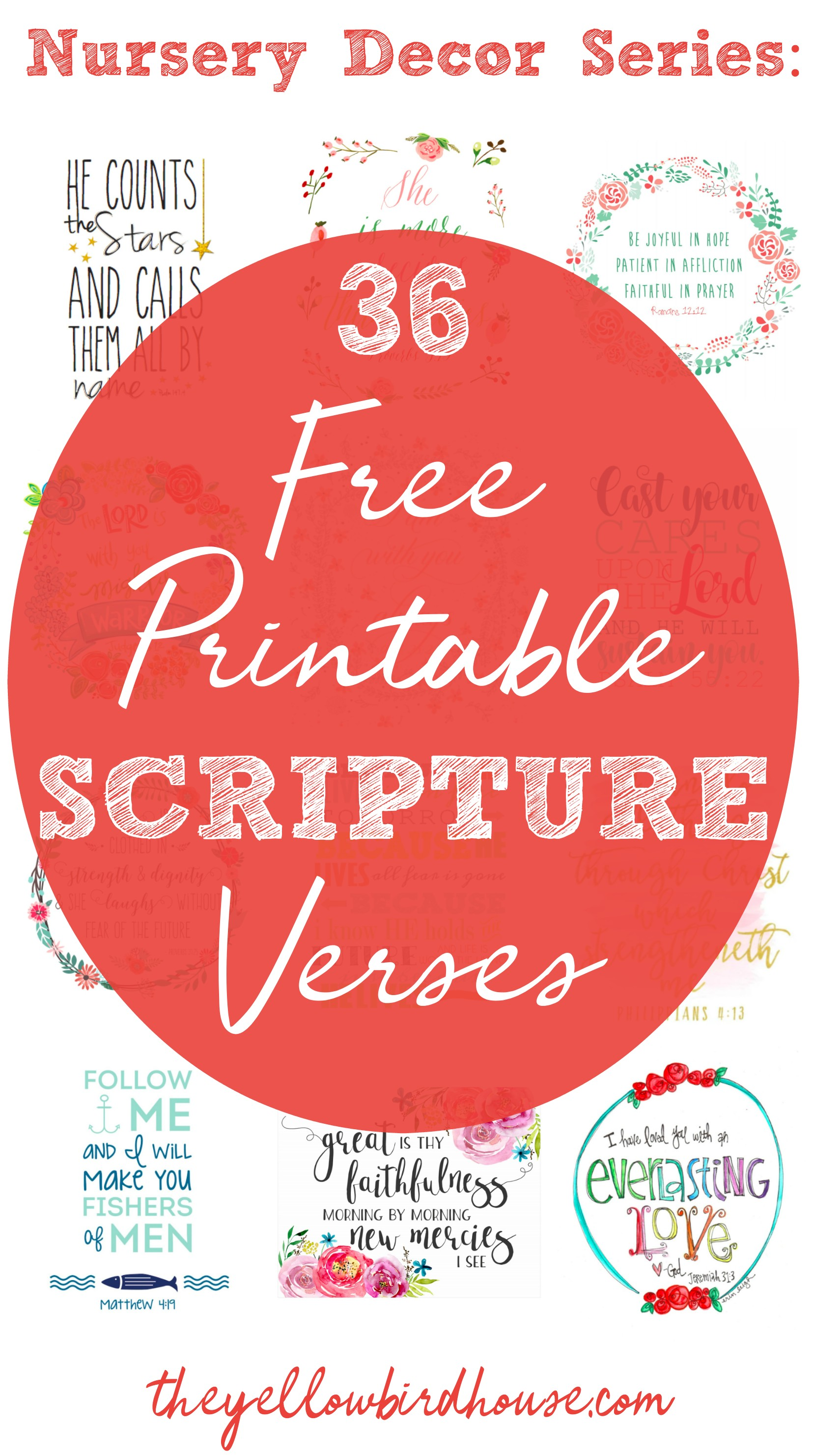 Part 4 in the Nursery Decor on a Budget series! 36 totally free printable scripture verses to hang in your little one's bedroom. Printable bible quote cards. Pretty scripture quotes to use as home decor. Gorgeous free printables for your nursery.