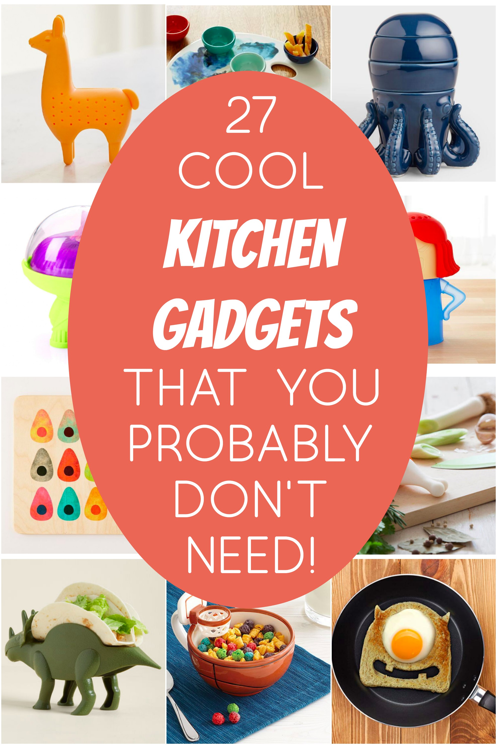 Every find yourself browsing online and stumbling on all sorts of gadgets that are totally unnecessary? Yup, me too. So I compiled 27 cool kitchen gadgets into one list of items you likely have no use for! Haha!